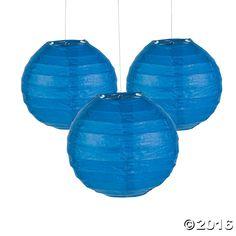 "Mini Blue Paper Lanterns - 4 1/2"""