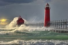 """""""The Storm"""" Grand Haven Lighthouse , Grand Haven Michigan. Fine Art Prints, Stock Image Licensing"""