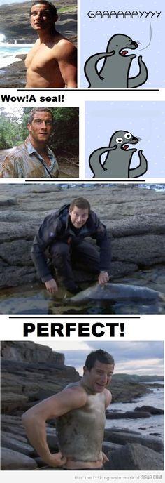 Bear Grylls et son manteau de phoque XD