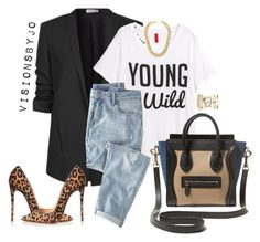 A fashion look from January 2016 featuring jersey t shirt, blazer jacket and blue jeans. Browse and shop related looks. H M Outfits, Jean Outfits, Classy Outfits, Fall Outfits, Casual Outfits, Fashion Outfits, Womens Fashion, Fashion Weeks, Fashion Hats