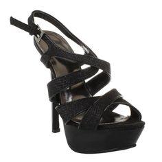 Black Glitter Strappy Open Toe Platform Stiletto Heels