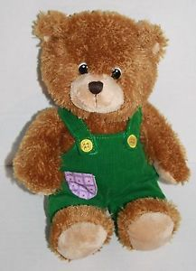 "Applause Corduroy Teddy Bear 11"" plush green overalls 2010 stuffed animal 33547"