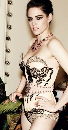 Stunning #vintage #corset on kirsten steward. Smoky makeup is actually v. flattering on her