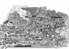 MC's Illustrations — Chandler House Chandler House, Mountain Illustration, Table Mountain, Four Corners, City Photo, Fine Art Prints, Gallery Wall, Wall Art, Artist