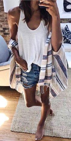 #Summer #Outfits / White Tank Top Shirt + Denim Ripped Short Shorts