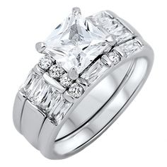 Kayla 3: 3.74ct Russian Ice on Fire CZ Womens 3pc Wedding Ring Set