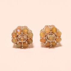 Natural Ethiopian Welo Fire Opal Gemstone Sterling Silver Earring Stud Jewelry #Handmade #Studs #NewYear