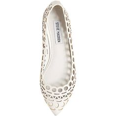 Steve Madden Women's Euphoria Flats (65 CAD) ❤ liked on Polyvore featuring shoes, flats, white, flat heel shoes, flat pumps, white flats, steve madden flats and white shoes