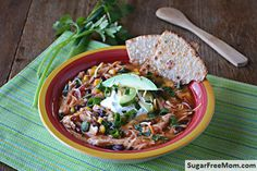 """<p>This healthy enchilada soup is a cinch to prepare and will surely please the whole family!</p> <p><a href=""""http://www.sugarfreemom.com/recipes/crock-pot-chicken-enchilada-soup/"""" target=""""_blank"""">Get the recipe!</a></p>"""