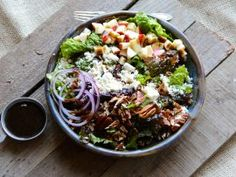 Apple, pecan and feta green salad with balsamic vinaigrette