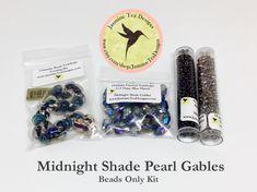 Midnight Shade Pearl Gables Bead Kit, Beads Only, Midnight Shade Pearl Gables Featured in Kumihimo Fiber and Bead Jewelry Magazine May 2016