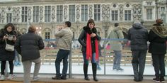 paris hotel de ville ice rink - modern and ancient statues