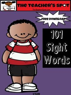 101 Sight Words that can be used for word wall, writing folders, word play, etc.    This free download is a great literacy tool.   Common Core RF.K.3cAlso, download and use with my Roll It, Say It, Write It Game.Rate and  post your comments about this download.