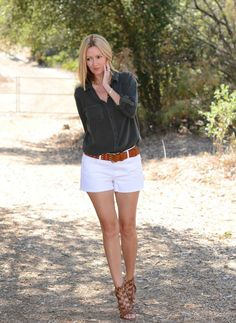 Army Button-Down Top, White Cut-off Denim Shorts, Gladiator Sandals