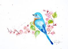 Bluebird Painting Bird Art Cherry Blossom by AngyPaints on Etsy