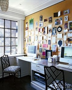 corkboard wall...brilliant! Organize the Office - Curated by Kirtsy