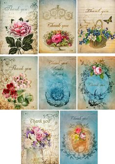 Vintage inspired Thank you stationery set of 8 card ATC altered art organza bag