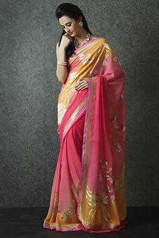 Handloom saree weaved in pure georgette from #Benzer #Benzerworld #Saree #Indianwear