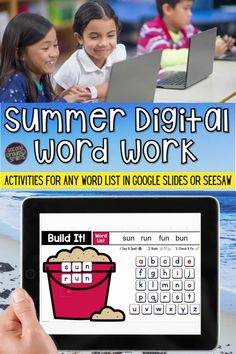 This digital word work set includes summer-themed interactive word work templates for any word list with moveable letter tiles in Google Slides and Seesaw. Use them again and again with any set of spelling words or high-frequency words. Just click to type in your own list! These fun digital activities are ideal for both distance learning or virtual learning and everyday classroom use. My second grade class loves them! Word Work Games, Word Work Activities, Spelling Activities, Teaching Vocabulary, Teaching Phonics, Teaching Kindergarten, Teaching Second Grade, Third Grade, Digital Word