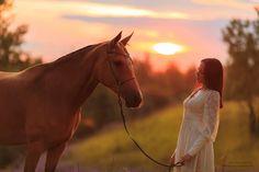 Девушка с лошадью на закате