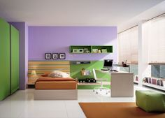 kids room, Boys Room Design Ideas With Bedroom Furniture Ideas With Green Wardrobe Design With Green Wall Units Design With Small Studying Desk Design For Boy Bedroom Design Ideas With White Floor And Brown Carpet: Modern Boy Room Design with Amazing Concepts