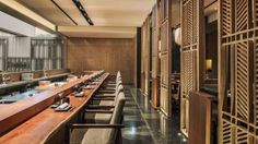 Japanese Chef Sawada brings Michelin-starred chops to Kioku Japanese restaurant in Seoul, with a sushi bar, happening dining room and private dining. Bathroom Interior Design, Interior Decorating, Japanese Restaurant Design, Chinese Restaurant, Dark Wood Bedroom Furniture, Furniture Decor, Japanese Bar, Japanese Style, Wood Cafe