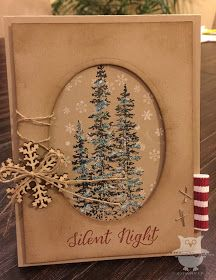handmade card fro Dani's Thoughtful Corner: Monday Montage #53 ... kraft ... trees and snowflakes ... luv the string/twine embellishments: bow, wrap and simple pair of cross stitches ... warm country look ... Stampin' Up!