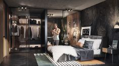 VWArtclub - One Bedroom apartment Uk Housing, Black Bedroom Design, Industrial Pipe Shelves, Scandinavian Apartment, Apartment Projects, Architecture Visualization, One Bedroom Apartment, Interior Design, House
