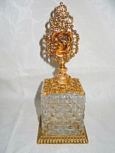 Ormolu and Glass Perfume Bottle with Rose