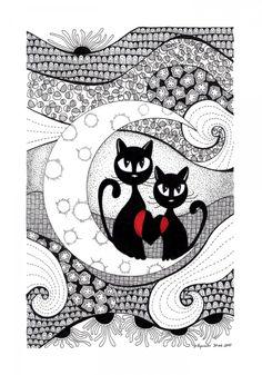 Zakochani nocą #cats #zentangle