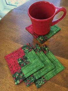 Christmas Quilted Holly and Poinsettia  Coasters  Red by seaquilt