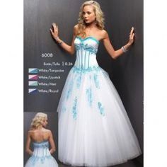 Ball Gown Sweetheart White/Turquoise Satin/Tulle Full Length Formal Evening Dress/mye024 [] - $195.00 : Wholesale Wedding Dresses|Plus Size Wedding Gowns,Prom Dresses Bridesmaid Gowns Online at Sisters Dress.