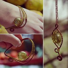 Green and gold jewelry set with copper wire by DotsAndLines89