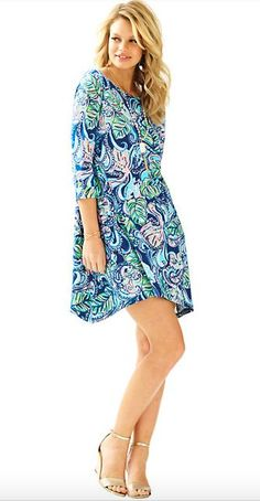 """Choose this Lilly Pulitzer Edna Dress in Hanging With Fronds for the ultimate, comfortably chic dress. - A-Line T-Shirt Dress With Waterfall Hem - 3/4 Length Sleeves With Cuff Detail - 19"""" From Natura"""