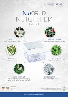 This product formulation has an elegant gel texture and infused with powerful botanical ingredients through NLIGHTEN's advanced technology. NLIGHTEN EYE GEL naturally helps reduce puffiness and helps brighten dark circles. Nlighten Products, Chestnut Horse, Eye Gel, Dark Spots, Dark Circles, Joker, Lily, Direct Selling, Place Card Holders