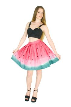Watermelon Skirt Hand Dyed Red and Green by fashionmeme on Etsy #summer #fashion #etsy