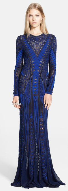 Roberto Cavalli Long Sleeve Gown
