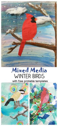 Mixed Media Winter Birds with free printable cardinal & chickadee templates. Beautiful winter art projects for kids Mixed Media Winter Birds with free printable cardinal & chickadee templates. Beautiful winter art projects for kids Preschool Art Projects, Toddler Art Projects, Art Activities, Projects For Kids, Camping Activities, Winter Activities, Winter Art Projects, Winter Crafts For Kids, Christmas Art Projects