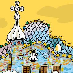 Casa Batlló de Gaudí, dibujo de Montse Noguera Gaudi Mosaic, Visit Barcelona, Barcelona Spain, Art Nouveau, 3rd Grade Art, Antoni Gaudi, Painter Artist, Beautiful Posters, Urban Sketchers