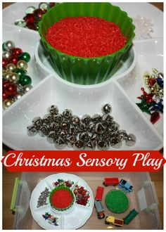 This is an easy and fun Christmas sensory bin you can create with your child this holiday season! We chose trains for our Christmas sensory bin but use whatever vehicles your child loves! Explore, decorate, create and share ideas! Preschool Christmas, Christmas Activities, Christmas Crafts For Kids, Preschool Crafts, Christmas Themes, Christmas Fun, Winter Activities, Xmas, Sensory Tubs
