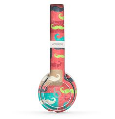 The Vintage Coral and Neon Mustaches Skin Set for the Beats by Dre Solo 2 Wireless Headphones