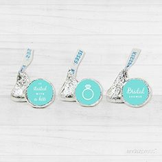 Amazon.com: Andaz Press Chocolate Drop Labels Trio, Fits Hershey's Kisses Party Favors, Wedding Bridal Shower, Diamond Blue, 216-Pack, Robin's Egg Blue Bride & Co Inspired Bridal Shower Party Decor Decorations: Kitchen & Dining
