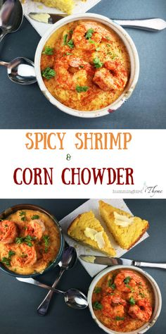 Hearty, satisfying and beautiful!  Plump shrimp, corn, potatoes, and warming spices.  Easy, too!