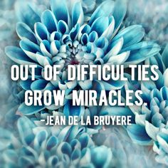 """""""Out of difficulties grow miracles."""" – Jean De La Bruyere 