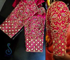Never Seen Before Heavy Work Silk Saree Blouses are Here heavy work bridal blouses sajna Wedding Saree Blouse Designs, Best Blouse Designs, Pattu Saree Blouse Designs, Wedding Blouses, Sari Blouse, Crop Blouse, Hand Work Blouse Design, Stylish Blouse Design, Aari Work Blouse