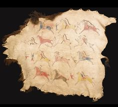 SIOUX PAINTED PICTORIAL BUFFALO ROBE