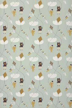 Kite | Kids wallpaper | Wallpaper patterns | Wallpaper from the 70s