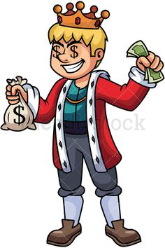 Rich King Holding Money: Royalty-free stock vector illustration of a wealthy young king wearing a cloak and a crown, holding a sack of money with one hand and some cash on the other, looking greedy. #friendlystock #clipart #cartoon #vector #stockimage #art #king #royal #emperor #monarch #money #riches