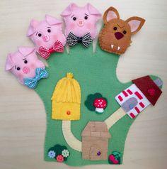 Felt Puppets, Felt Finger Puppets, Hand Puppets, Felt Diy, Felt Crafts, Diy And Crafts, Diy For Kids, Crafts For Kids, Cross Stitch Pictures