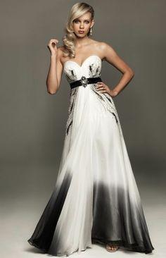 black white obre wedding dresses | White and Black Ombre Chiffon Evening Dress.